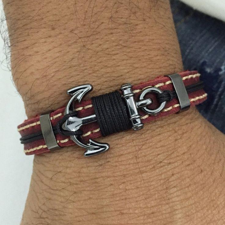 Pulseira Masculina Couro Ancora Moda Navy Fecho Magnetico mens bracelets fashion style cocar brasil