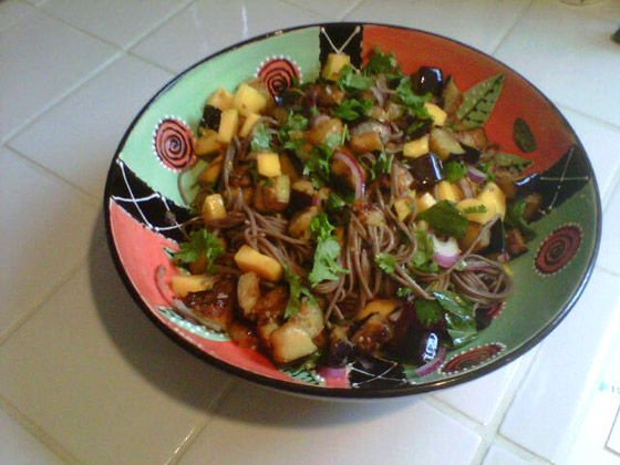 Ottolenghi's Soba Noodles with Eggplant and Mango.
