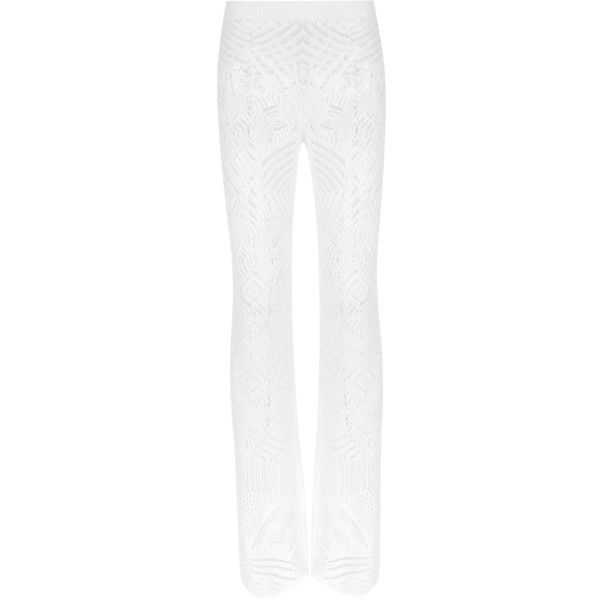 La Perla Beyond the Beach Viscose Knit Trousers ($600) ❤ liked on Polyvore featuring pants, white, white beach pants, viscose pants, beach pants, white knit pants and white trousers