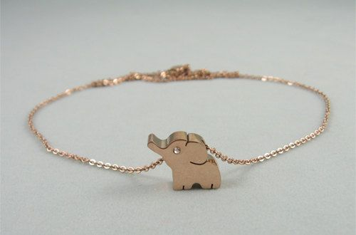 Elephant anklet in rose gold16k gold plated by YourColorfulDays, $13.00 oooooooooohh thats cute