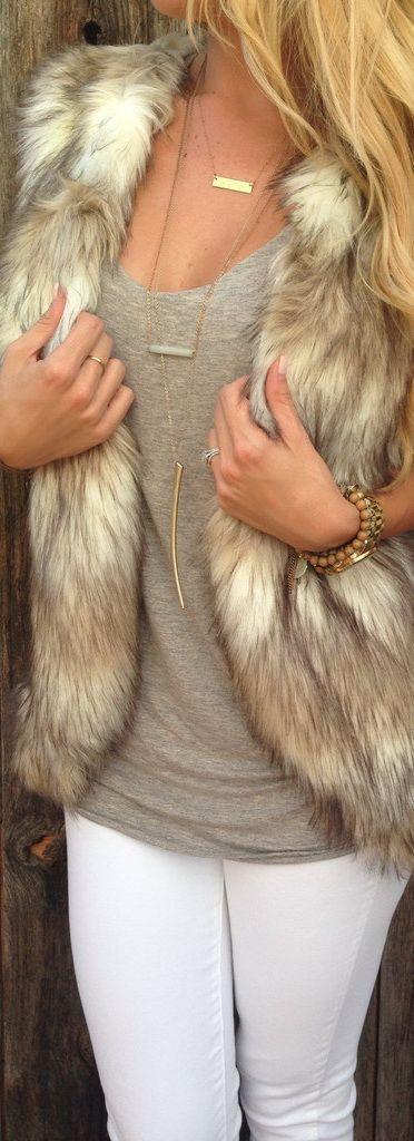 Ash Brown Faux Fur Vest