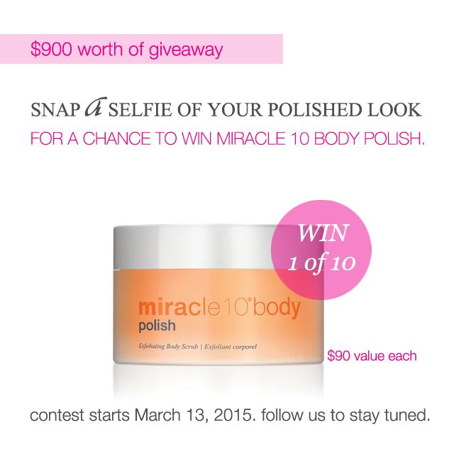 Starting tomorrow, you will have the chance to enter and win 1 of 10 Miracle 10 Body Polish. Follow us on Instagram to stay tuned.