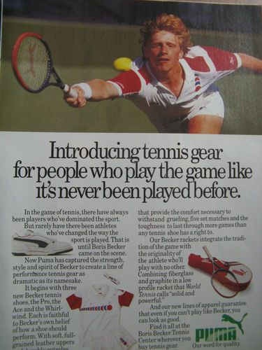 "1987 Puma Ad 8 5 x 10 5 "" Boris Becker Puma Tennis Gear   eBay"