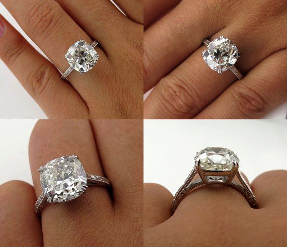 Love the vintage cushion cut with the double prong claws  Breathtaking 5.02ct Estate Vintage Cushion by TreasurlybyDima