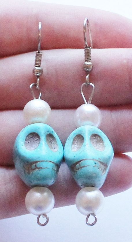 Vintage Carved Turquoise Skull Dangle or Drop by paststore on Etsy