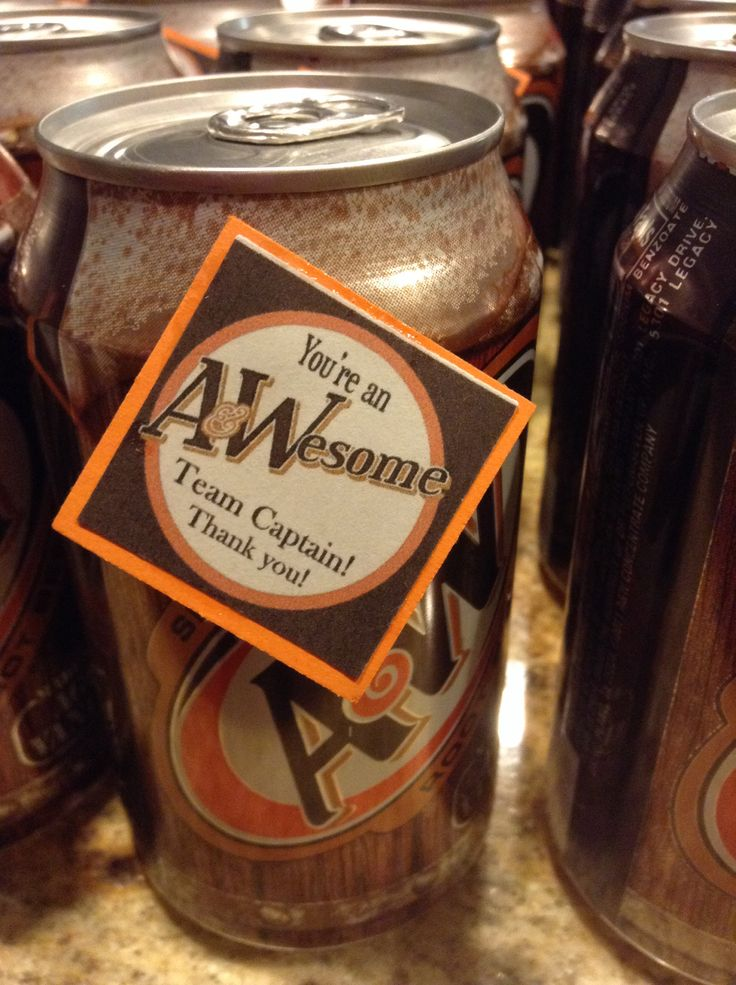 A&W Root-beer for Relay For Life team captain thank you gifts. $10 to make 48 gifts!