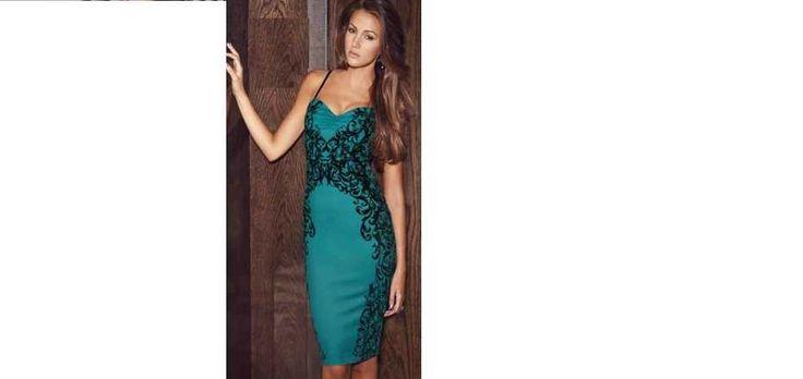 Michelle Keegan Midi Green and Black Dress