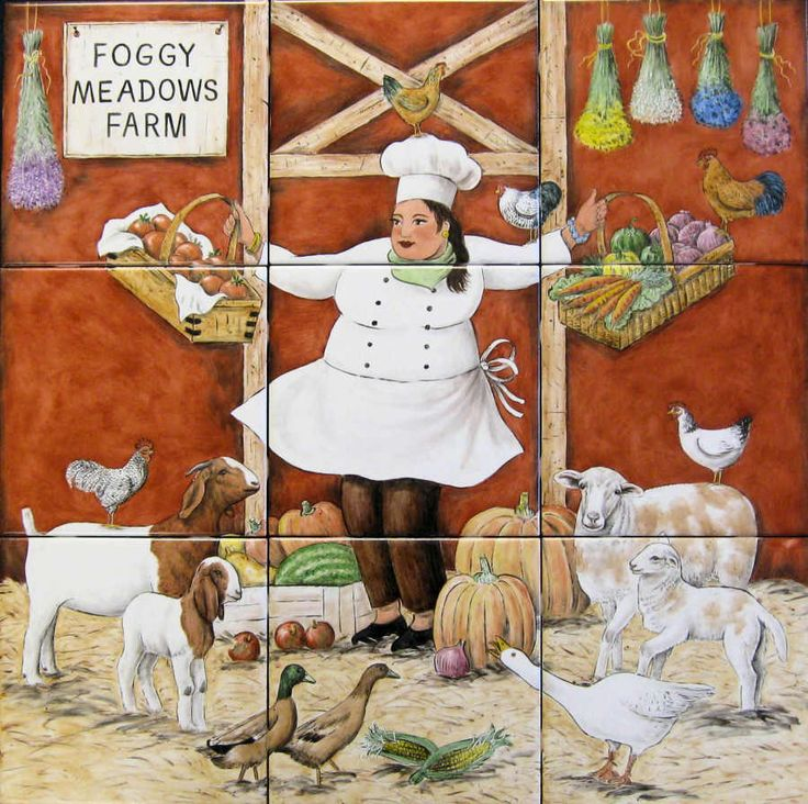 Hand Painted Tiles Farm Animals For Kitchen Backsplash