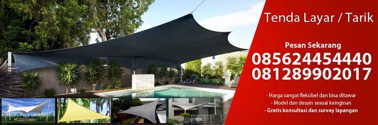 Tenda tarik / laya, model tenda membrane yang sedang populer saat ini, suntuk pemesanan silahkan hubungi Braja Awning