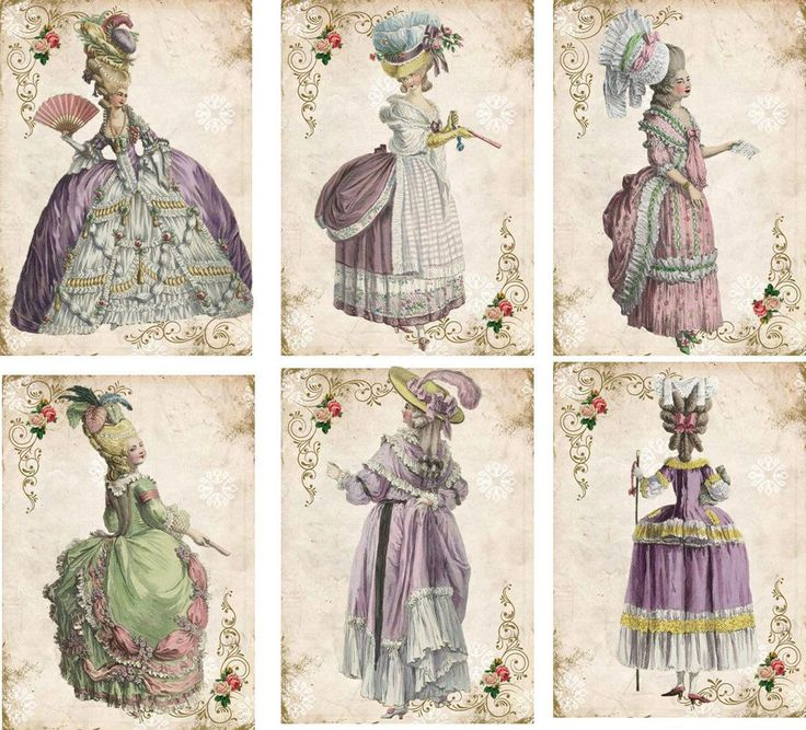 Vintage Inspired Marie Antoinette Pastel Color Gowns Cards Tag ATC Set of 6 | eBay