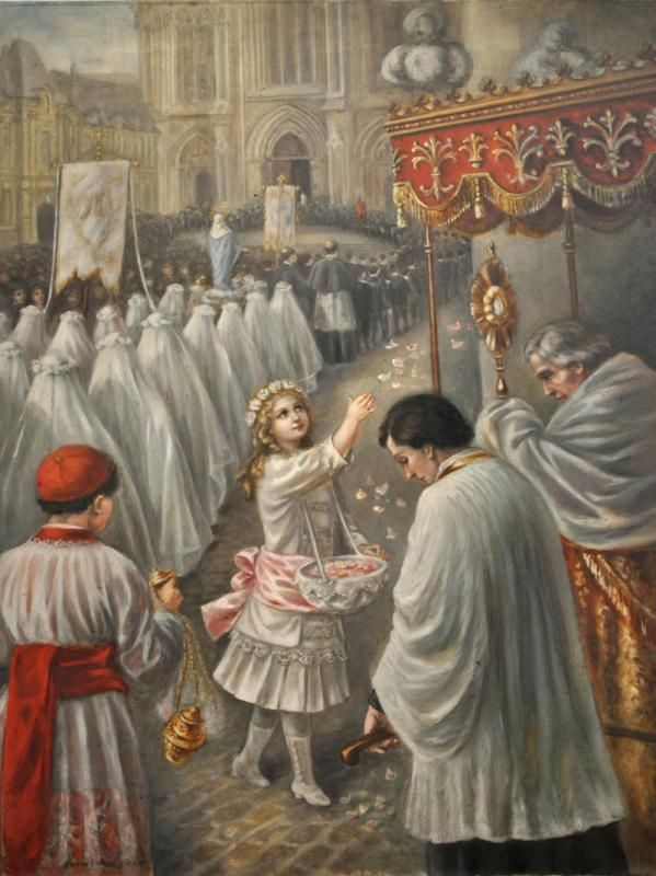 St. Therese of Lisieux strewing rose petals in the path of the Blessed Sacrament in a eucharistic procession.....beautiful!
