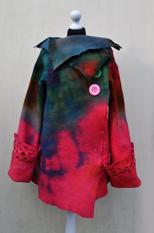 SALE - Jacket, felted jacket, felt, wool, merino wool, collar, pink, green, blue and pink buttons, size Large