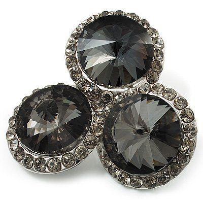 """Aschgraue """"Kreis"""" Jugendstil-Brosche mit Strass im Diamant-Design (Silberfarben) von Avalaya, http://www.amazon.de/dp/B004AZ0556/ref=cm_sw_r_pi_dp_qDWprb0GSF3AH"""