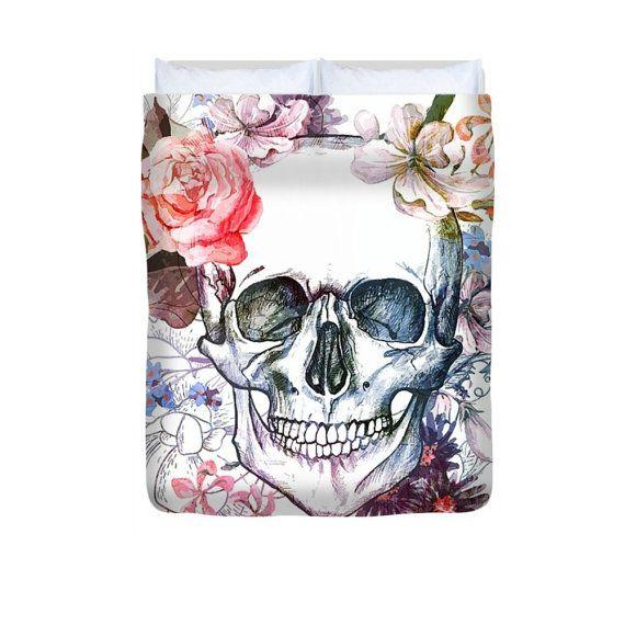 Sugar Skull couette couverture-Soft aquarelle - lits jumeaux - complet-Queen-King - microfibre - crâne literie Nos housses de couette microfibre