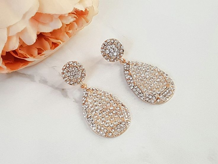 Jewels by House of Aria: VERA Statement Earrings (Gold & Grey), gunemetal grey chandelier earrings, teardrop rhinestone earrings, jewel earrings, rhinestone encrusted luxury earrings, bridal jewellery, gifts for her, Christmas party