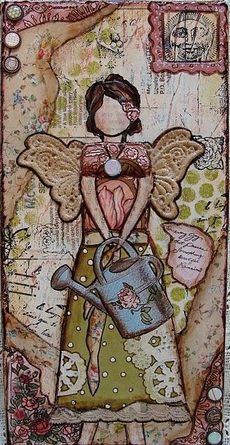 art journalAngels Artworks, Art Angels, Art Journals, Garden Angels, Journals Ideas, Art Collage, Angels Wings, Mixed Media Art, Gardens Angels