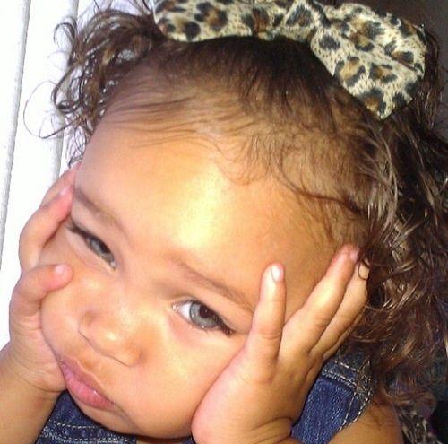 Baby girl looking so sad :( http://mixed-2-perfection.tumblr.com/