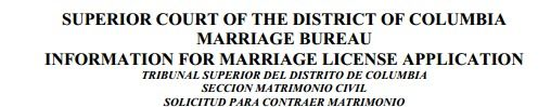 dc marriage license application