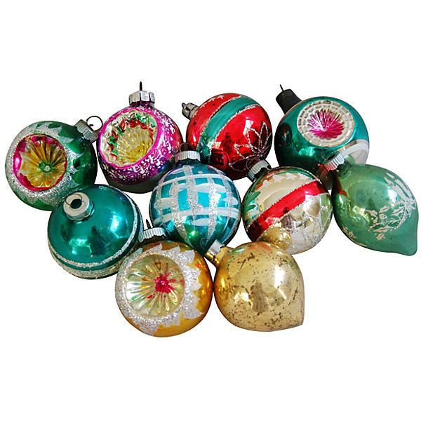 Pre-Owned Midcentury Christmas Ornaments S/10 (€93) ❤ liked on Polyvore featuring home, home decor, holiday decorations, decorative accessories, multi, glass home decor, mid century modern home decor, glass holiday ornaments, glass christmas tree ornaments and glass ornaments