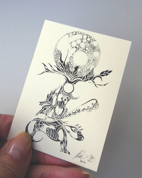 ACEO Taurus one of our 12 Zodiac Signs Pen by LoesManfredCreations