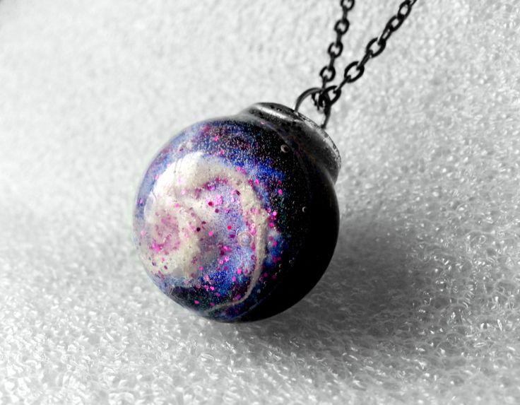 Spiral Galaxy Orb Pendant Necklace Purple Galaxy Necklace