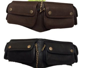 BLACK LEATHER Utility pocket belt fanny pack hip by GekkoBoHotique