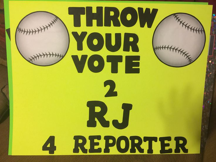 RJ's baseball themed, student council reporter campaign poster