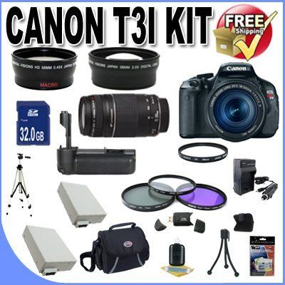 Canon EOS Rebel T3i 18 MP CMOS Digital SLR Camera and DIGIC 4 Imaging with EF-S 18-55mm f/3.5-5.6 IS Lens & Canon 55-250IS Lens + 58mm 2x Telephoto lens + 58mm Wide Angle Lens (4 Lens Kit!!!!!!) W/32GB SDHC Memory+ Battery Grip + 2 Extra Batteries + Charger + 3 Piece Filter Kit + UV Filter + Full Size Tripod + Case +Accessory Kit! by BVI. $919.00
