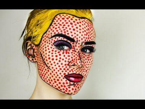 Maquillaje pop art de cómic para Halloween - http://www.guiamaquillaje.com/maquillaje-pop-art-de-comic-para-halloween.html