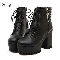 Gdgydh/новый бренд 2017 г., весна-осень женские ботинки на высоком каблуке на платформе со шнурками на толстом каблуке повседневная обувь с молни...