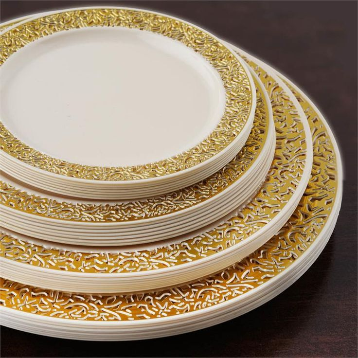 "10 Pack - Ivory with Gold Trimmed 6.25"" Round Disposable Plate - Picturesque Collection 