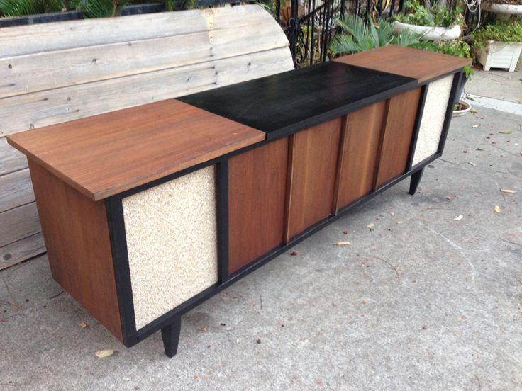 Mid Century Stereo Media Cabinet Console Credenza Modern