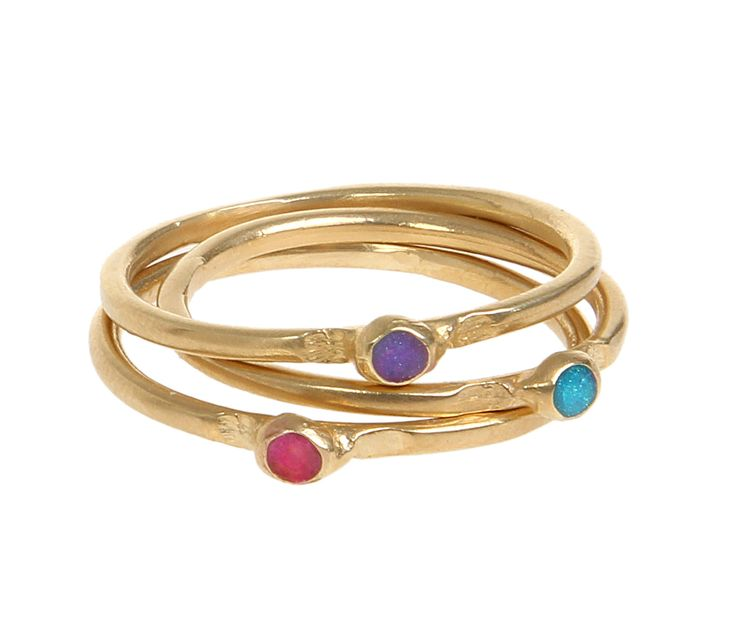 Gold Stackable Ring, Stacking Ring, 14K Gold Filled delicate stacking dot ring inlaid with colorful Enamel, 14K Gold plated knuckle ring