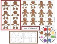 Gingerbread activities: FREE gingerbread shape games.
