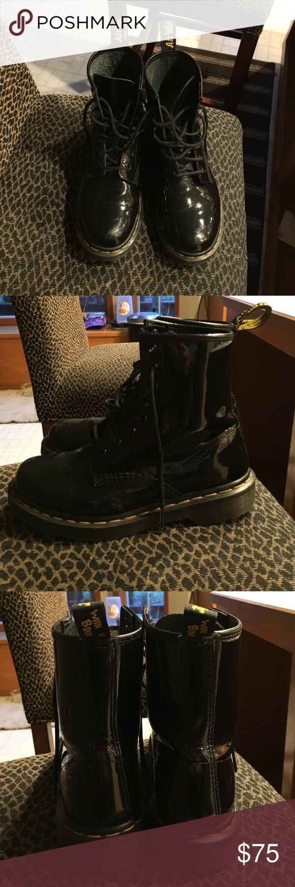 Dr Marten boots New Dr Marten patent leather boots! Nothing wrong with them, they just aren't my size. Dr. Martens Shoes Combat & Moto Boots