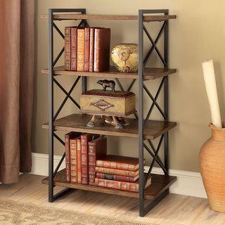 Furniture of America Collins Industrial Medium Weathered Oak 4-tier Display…