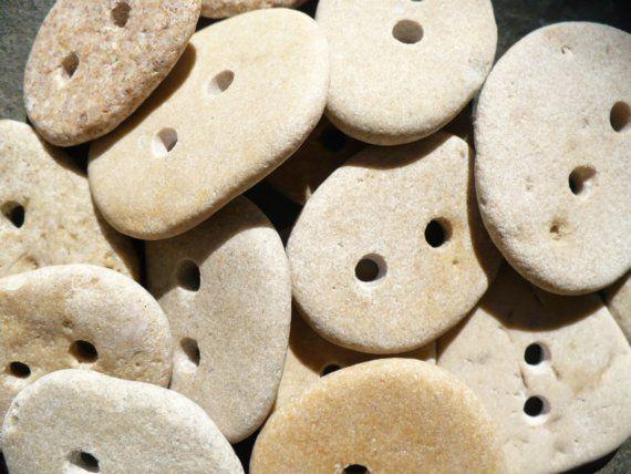Beach stone buttons