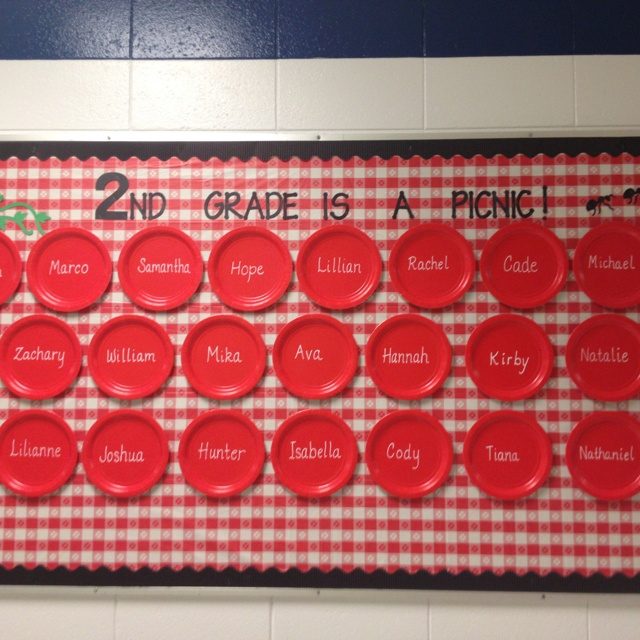 Picnic Bulletin Board.  Could do with AR points since the plastic plates can work as mini dry erase boards