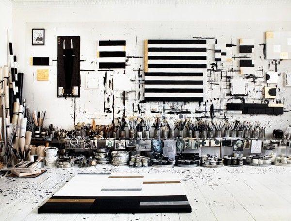 <Artists Studios, Studios Spaces, Art Studios, Black And White, Interiors, Idha Lindhag, Black White, Blackwhite, Tenka Gammelgaard
