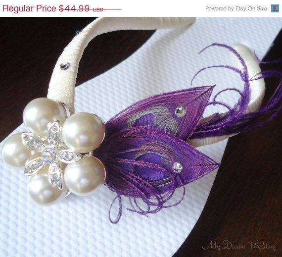 ON SALE Purple Flip Flops. Peacock Feathers - Ivory wrapped flip flops with SWAROVSKI Crystals -StarFish Pearls Rhinestone -Must Have Colle. $40.49, via Etsy.