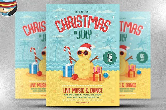 Christmas In July Flyer Template By Flyerheroes On Creativemarket Flyer Template Flyer Business Card Logo