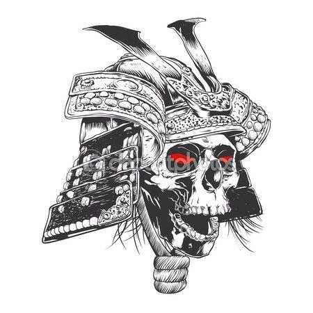 Capacete de samurai preto e branco com crânio —  Vetores de Stock #112828740