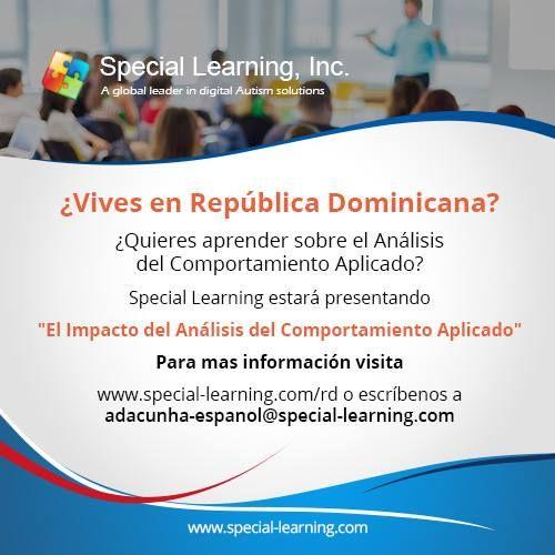 """¿Vives en República Dominicana? ¿Quieres aprender sobre el Análisis del Comportamiento Aplicado? Special Learning estará presentando """"El Impacto del Análisis del Comportamiento Aplicado"""" Para mas información visita www.special-learning.com/RD-Workshop o escríbenos a adacunha-espanol@special-learning.com #DominicanRepublic  #ABA  #autism"""