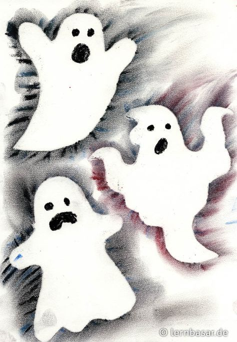 Geisterstunde - Gruselbild mit Pastellkreiden - Startpunkt DE