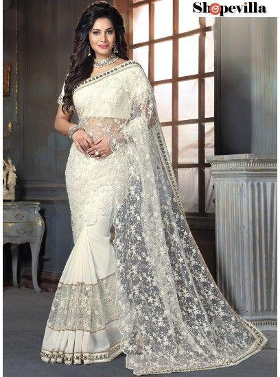 Immaculate White Georgette On Net Designer Saree-4207