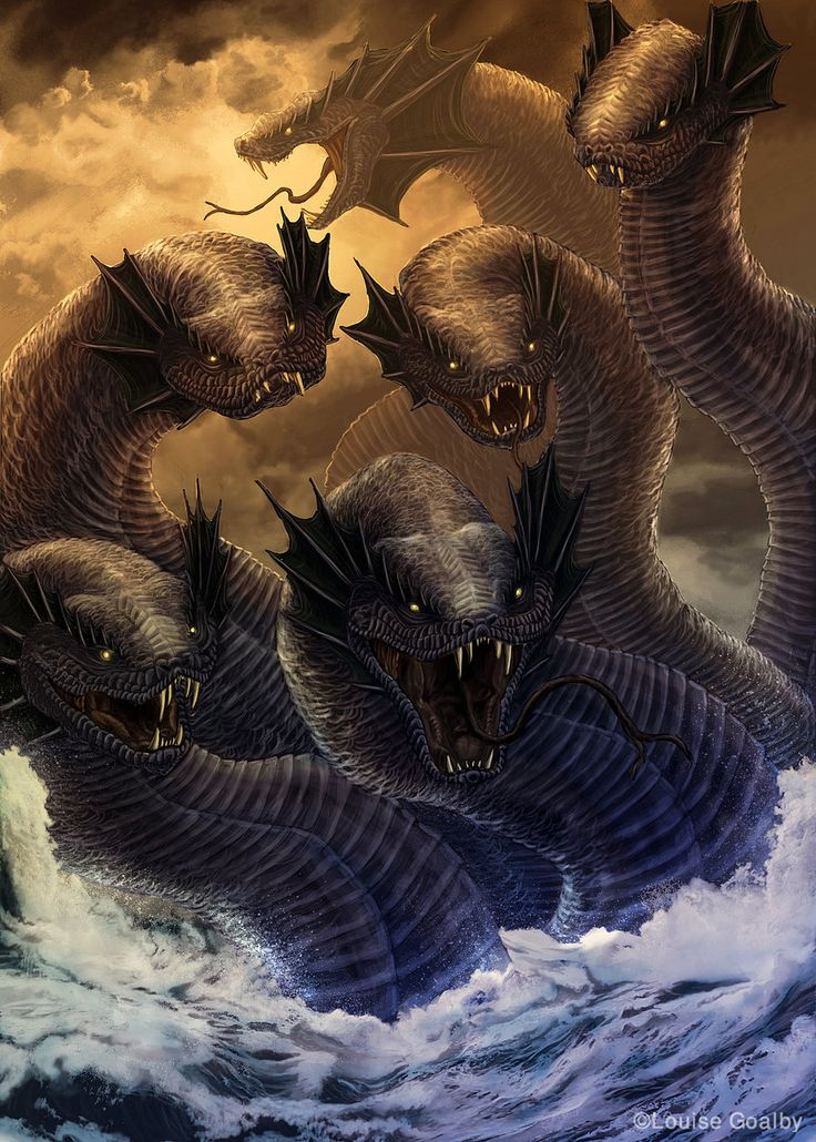 The Hydra, an ancient serpent-like chthonic water beast  that possessed many heads , the poets mention more heads than the vase-painters could paint, and for each head cut off it grew two more, it's poisonous breath and blood were so potent, even its tracks were deadly. The Hydra of Lerna was killed by Hercules as the second of his Twelve Tasks