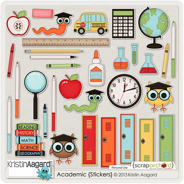 Digital scrapbook elements academic stickers kristin aagard designs regular price 3 00