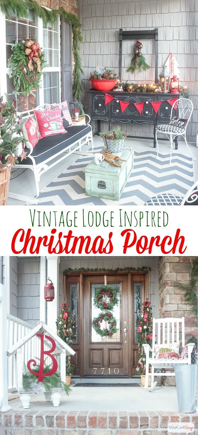 Front porch decorating ideas for winter - Atta Girl Says Lodge Inspired Front Porch Decorating Ideas For Christmas Http