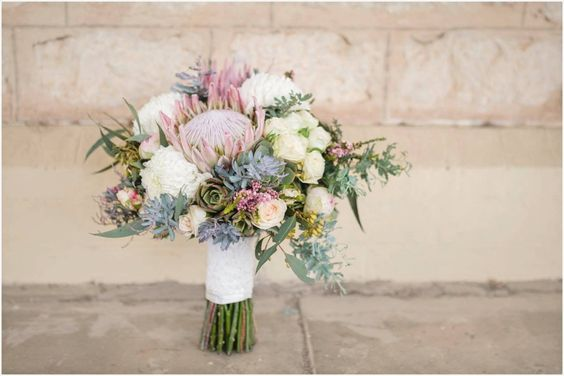 Wedding flowers inspired by the Australian Bush - just because you are going native flowers, doesn't mean your bridal bouquet has to be any less soft and feminine. Adelaide Wedding Photography by Jade Norwood. Wedding Reception and Ceremony: Gomersal Winery. Aussie Bush and Vintage inspired wedding.:
