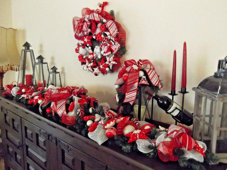 t rbogen girlande t rkranz weihnachten beleuchtet rot wei. Black Bedroom Furniture Sets. Home Design Ideas